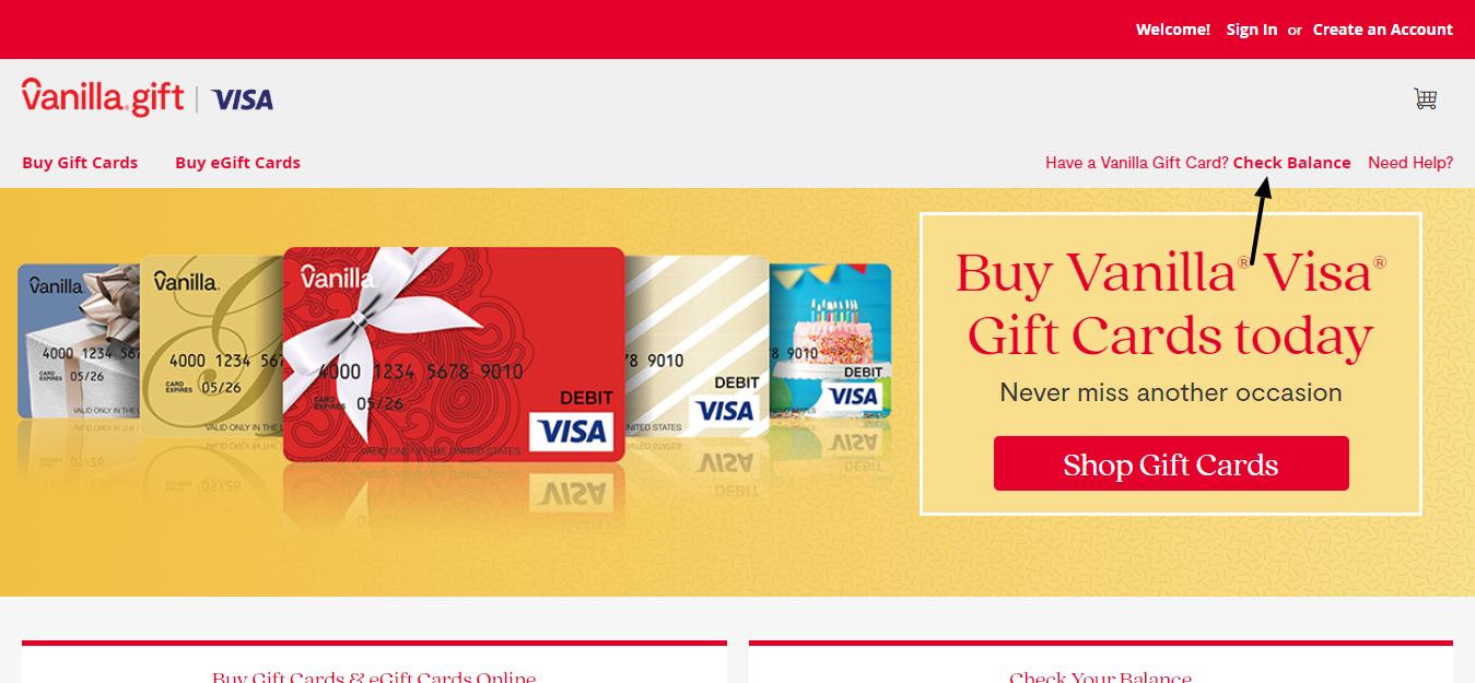 Vanilla gift card balance check
