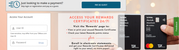 TJX Rewards Credit Card Login