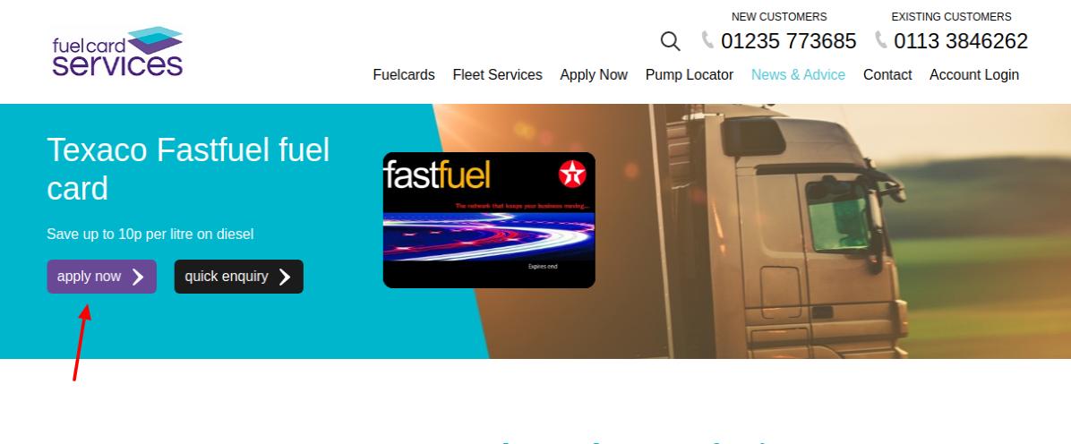 Texaco fuel card Apply