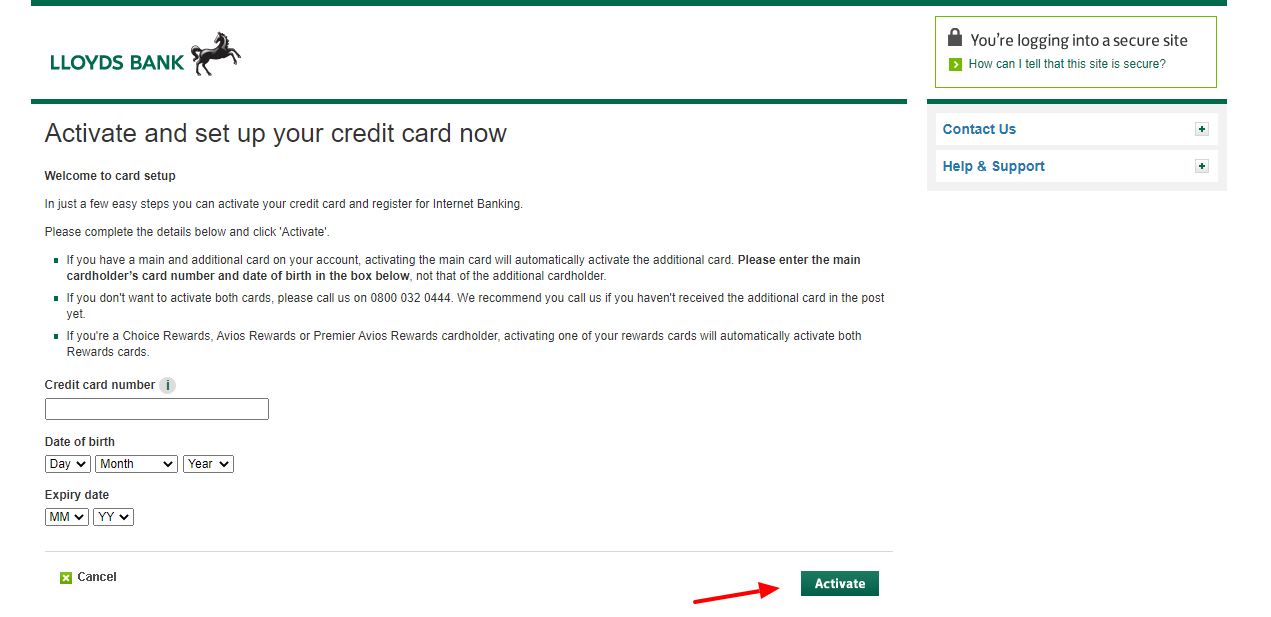 Lloyds Bank Card Activate