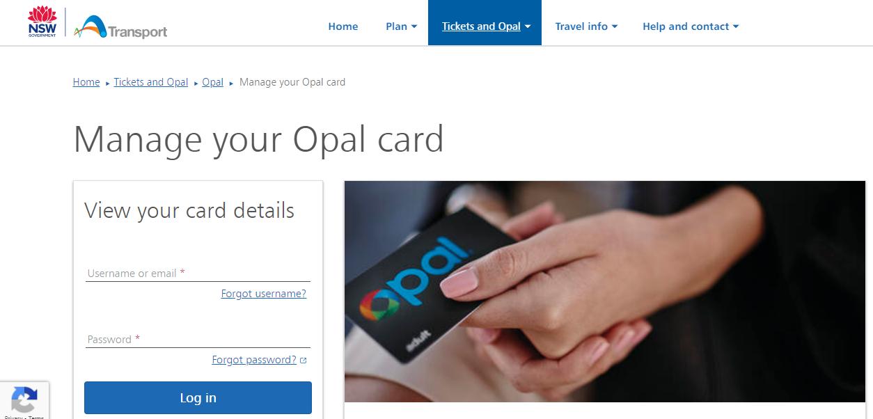 Opal card Login