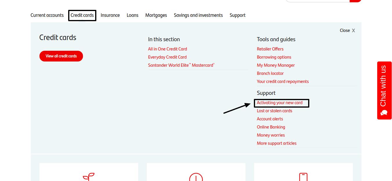 santander credit card activation